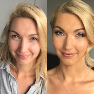 before and after makeup comparison for brides